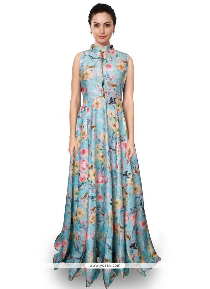 Glowing Satin Blue Digital Print Work Designer Salwar Suit