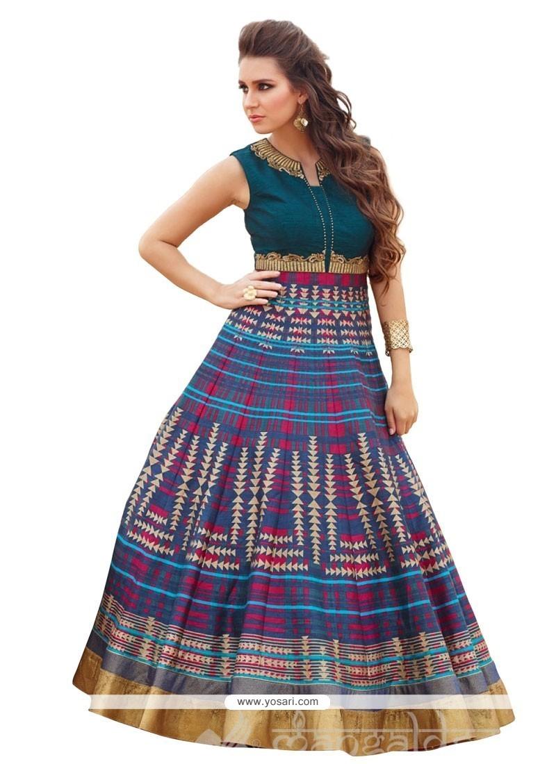 Digital Print Raw Silk Anarkali Salwar Kameez In Multi Colour