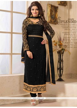 Fab Black Georgette Churidar Salwar Suit