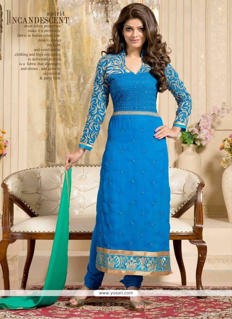 Observable Blue Embroidery Churidar Suit
