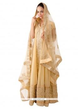 Embroidered Raw Silk Anarkali Salwar Kameez In Cream