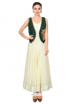 Fab Embroidered Work Green Raw Silk Designer Salwar Suit