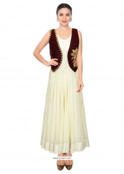 Incredible Embroidered Work Maroon Raw Silk Designer Salwar Suit