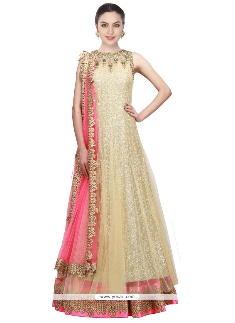 Fascinating Gold Floor Length Anarkali Salwar Suit