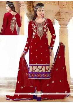 Splendid Maroon Cotton Churidar Suit