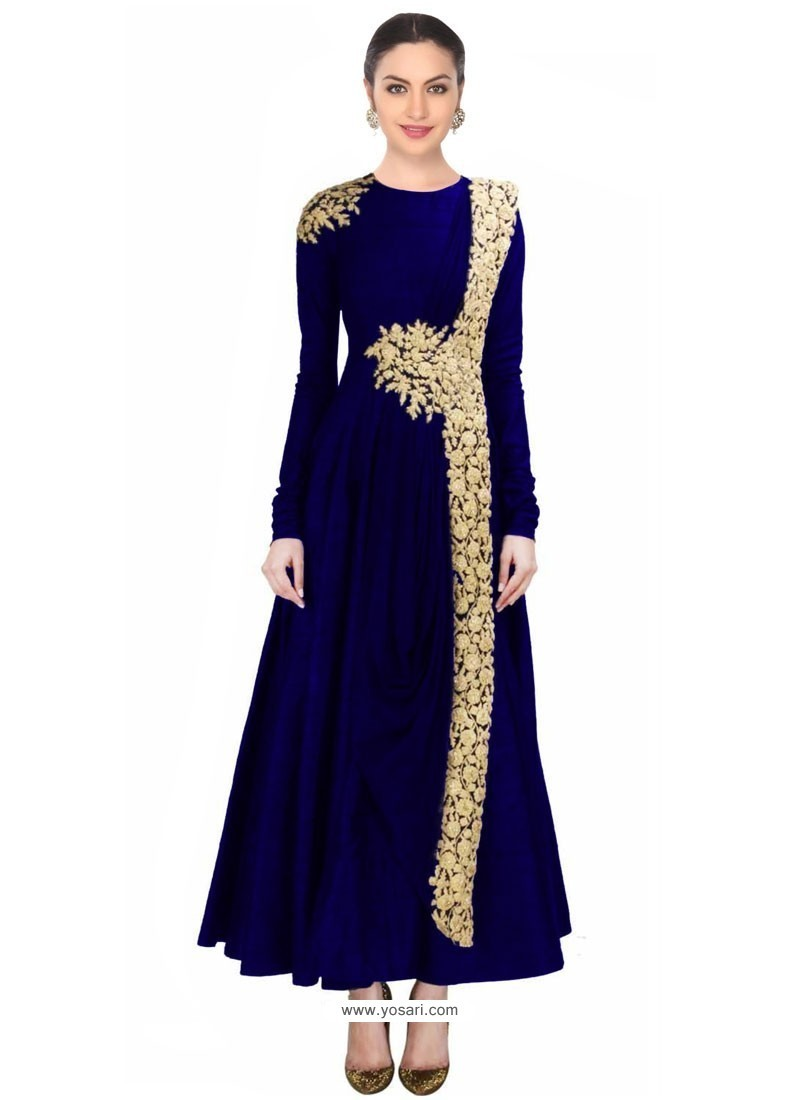 e7992529b Buy Navy Blue Net Designer Salwar Suit Online at best price