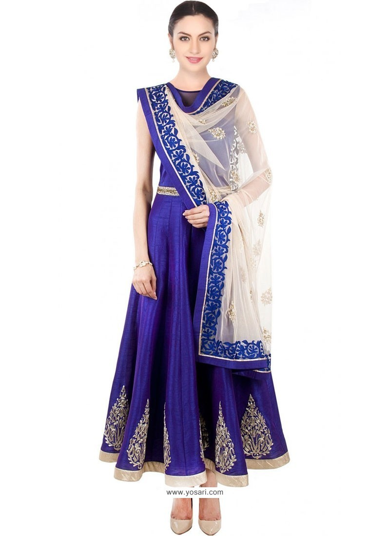 Immaculate Blue Embroidered Work Anarkali Salwar Kameez