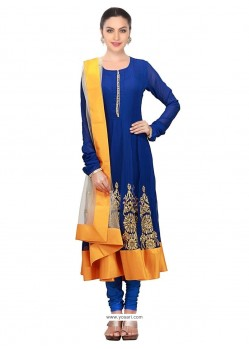 Arresting Georgette Blue And Yellow Anarkali Salwar Kameez