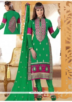 Fab Green Cotton And Net Churidar Suit