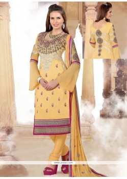 Glorious Cream Cotton Churidar Suit