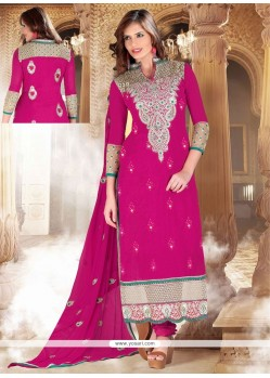 Dazzling Pink Cotton Churidar Suit