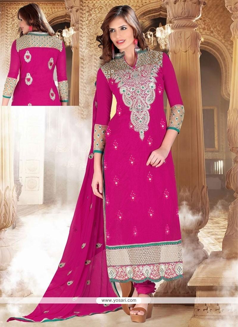 Dazzling Pink Cotton Churidar Suit