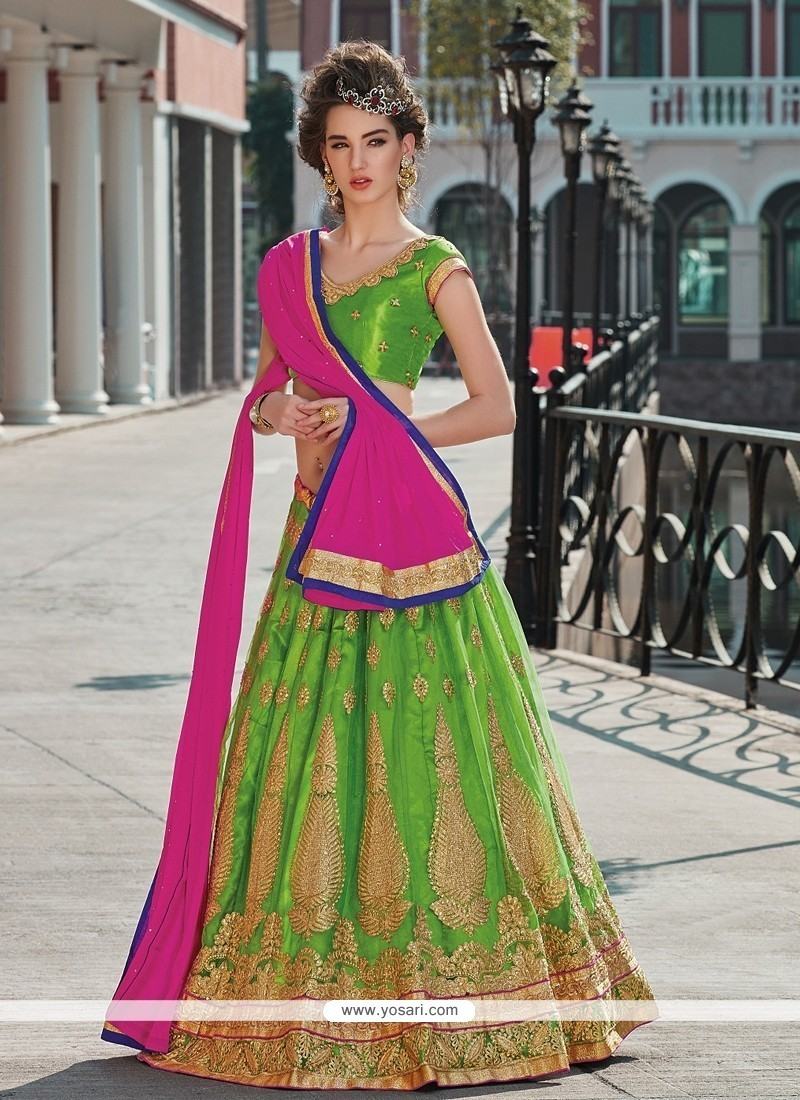 Sparkling Embroidered Work Green A Line Lehenga Choli
