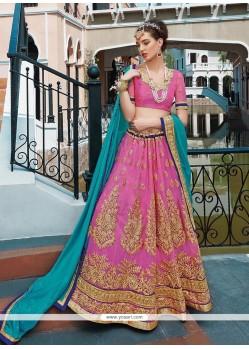 Prepossessing Pink Designer A Line Lehenga Choli