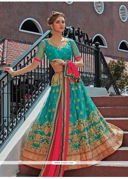 Sea Green Embroidered Work Designer A Line Lehenga Choli