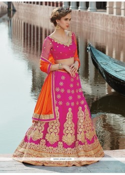 Heavenly Net Hot Pink Embroidered Work A Line Lehenga Choli
