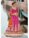 Heavenly Net Hot Pink Embroidered Work A Line Lehenga Choli
