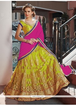 Delightsome Patch Border Work Designer A Line Lehenga Choli