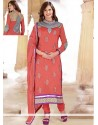 Fab Orange Cotton And Net Churidar Suit