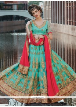Intricate Net Patch Border Work A Line Lehenga Choli