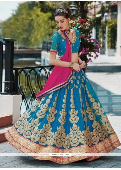 Prodigious Net Patch Border Work Designer A Line Lehenga Choli