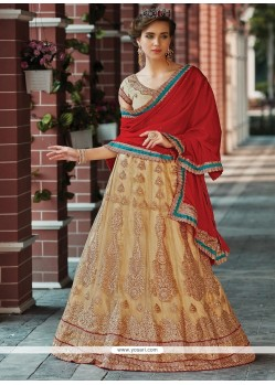 Sonorous Beige Patch Border Work Net A Line Lehenga Choli