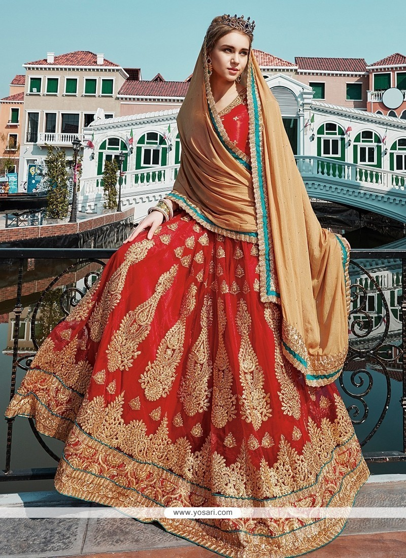 Princely Net Red Designer A Line Lehenga Choli