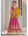 Savory Net Hot Pink A Line Lehenga Choli