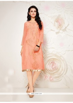 Distinctively Peach Georgette Party Wear Kurti