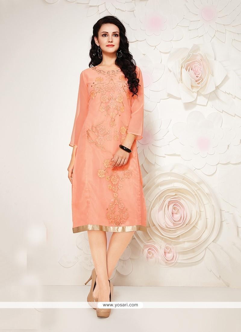 Distinctively Peach Georgette Party Wear Kurti