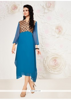Alluring Blue Georgette Party Wear Kurti