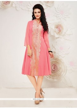 Radiant Embroidered Work Pink Georgette Party Wear Kurti