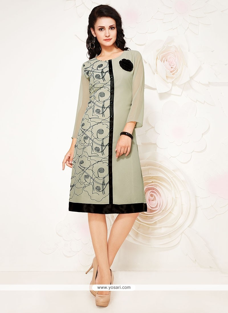 Ideal Grey Embroidered Work Party Wear Kurti