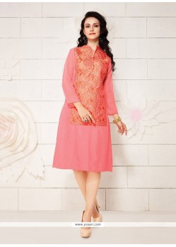 Floral Pink Embroidered Work Party Wear Kurti
