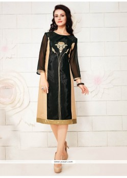 Invaluable Georgette Black Embroidered Work Party Wear Kurti