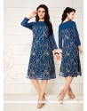 Fashionable Embroidered Work Blue Georgette Party Wear Kurti
