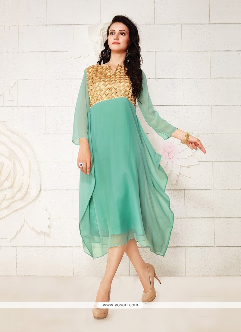 Charming Embroidered Work Georgette Party Wear Kurti