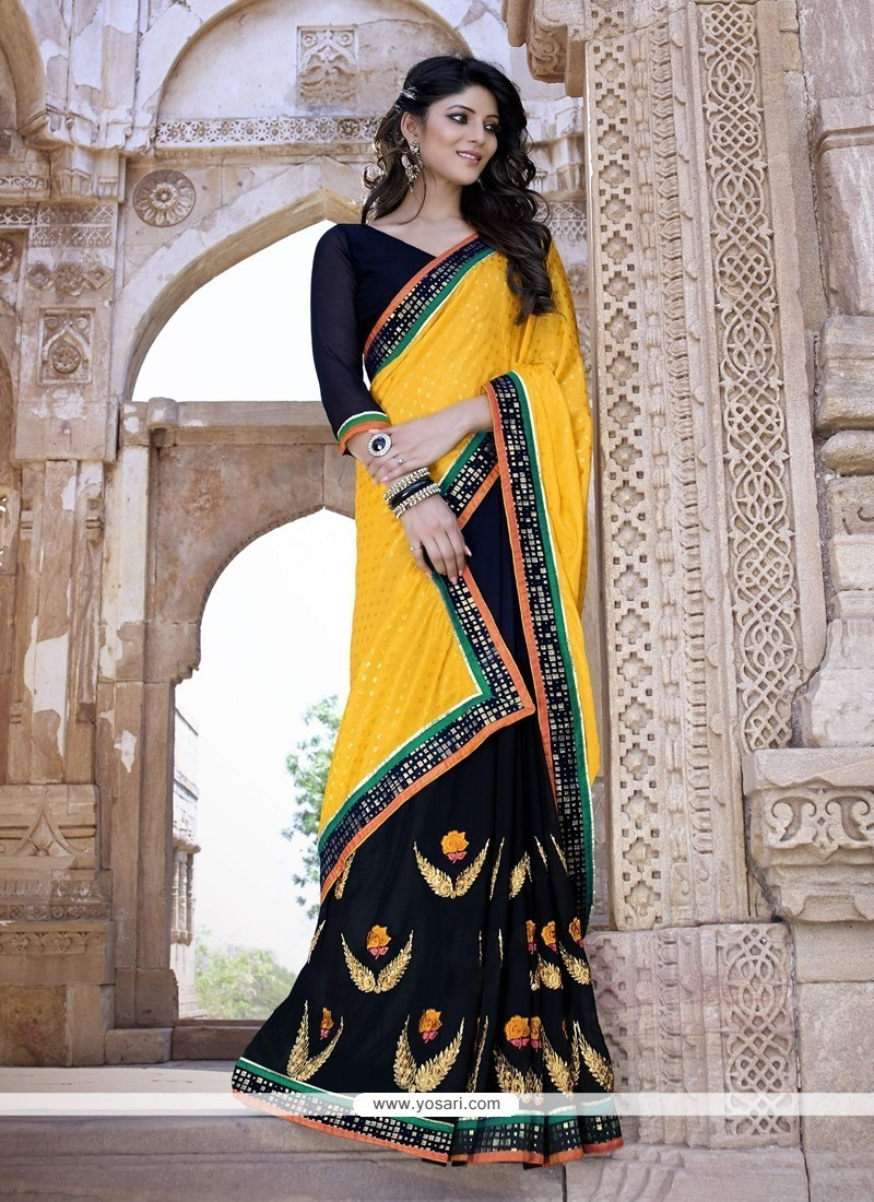 Genius Black And Yellow Embroidered Work Trendy Saree