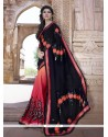 Fabulous Patch Border Work Black And Red Traditional Saree