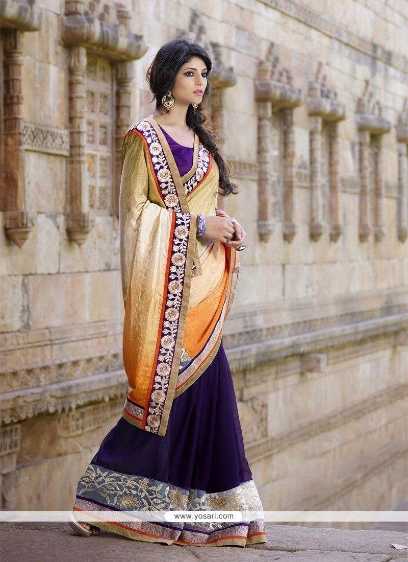 Exceptional Fancy Fabric Patch Border Work Classic Saree