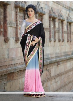 Competent Georgette Black And Pink Embroidered Work Designer Saree