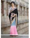 Competent Georgette Black And Pink Embroidered Work Designer Saree