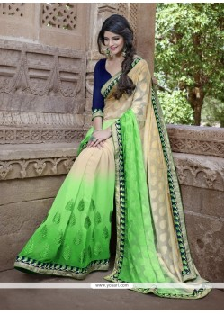 Masterly Embroidered Work Green Classic Designer Saree