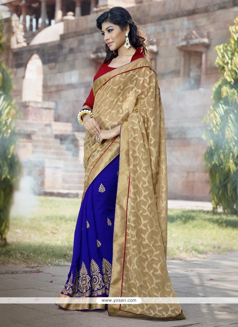 Distinguishable Blue Embroidered Work Georgette Classic Saree