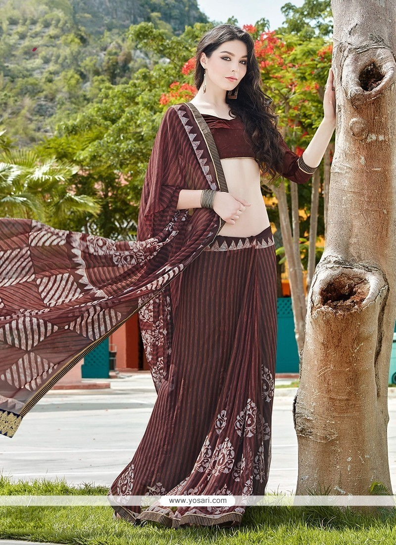 Bedazzling Georgette Patch Border Work Printed Saree
