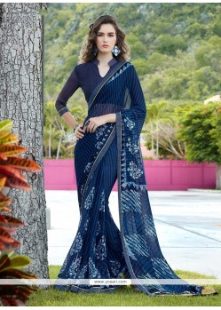 Aspiring Georgette Navy Blue Print Work Printed Saree