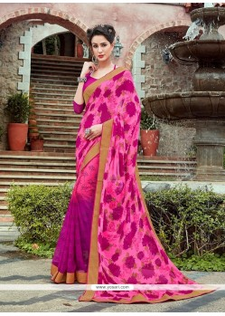 Aspiring Patch Border Work Hot Pink Printed Saree