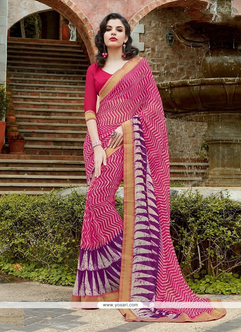 Preferable Hot Pink Patch Border Work Georgette Printed Saree