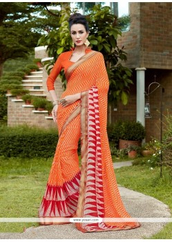 Wonderous Orange Georgette Casual Saree
