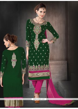 Glorious Green Velvet Churidar Suit